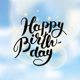 Ciel de lettrage de joyeux anniversaire Images stock