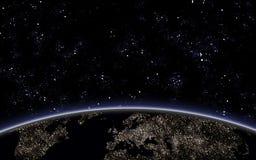 Ciel de Nigth avec la terre de planète Photographie stock libre de droits