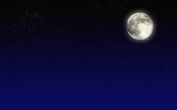 Ciel de nuit avec la lune Photos stock