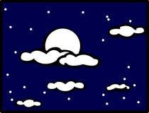 Ciel de nuit nuageux avec la pleine lune Images libres de droits