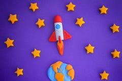 Ciel de Rocket Flying Through The Starry de l'espace photo stock