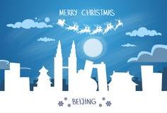 Ciel de Santa Claus Sleigh Reindeer Fly China Asie Image stock