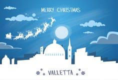 Ciel de Santa Claus Sleigh Reindeer Fly Malta Photos libres de droits