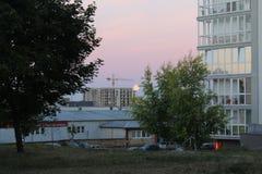 Ciel de soirée de Colourul avec la lune Photos libres de droits