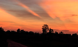 Ciel de soirée en Thaïlande Images libres de droits