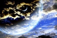 Ciel de tempête et planète d'étranger Photo stock