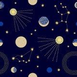 Ciel de zodiaque Modèle sans couture abstrait de vecteur avec des constellations Photo stock