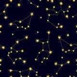Ciel de zodiaque Modèle sans couture abstrait de vecteur avec des constellations Image libre de droits