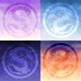 ciel des dragons quatre illustration de vecteur