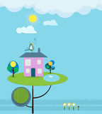 Ciel doux de maison de maison de papier de coupe-imagination avec le soleil Images stock