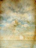Ciel et mer sur le vieux papier Photo stock