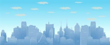 Ciel et nuages de matin au-dessus d'illustration sans couture de paysage urbain de vecteur de silhouette de ville illustration libre de droits