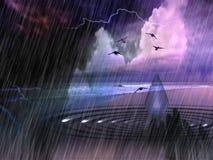 Ciel et vagues de l'océan Storm illustration de vecteur