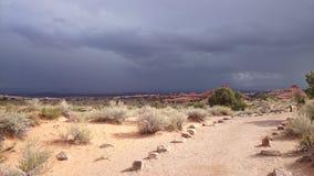 Ciel foncé au-dessus des voûtes parc national, Utah Images stock