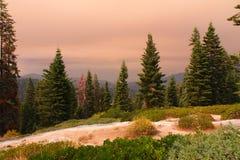 Ciel fumeux au parc national de Canyon du Roi Photo stock