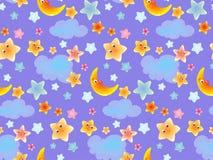 Ciel mignon de bande dessinée de fond sans couture avec le nuage et la lune d'étoiles pour les enfants et le textile de bébé, pap Image libre de droits