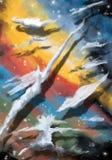 Ciel multicolore avec des nuages Image libre de droits