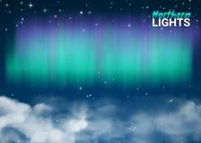 Ciel nocturne étoilé Aurora Beautiful Natural Effect pour la conception illustration de vecteur