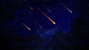Ciel nocturne avec une pluie de météores illustration de vecteur