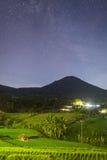 Ciel nocturne complètement des étoiles au-dessus des terrasses de riz de Jatiluwih Photo libre de droits