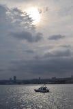 Ciel nuageux à Istanbul, Bosphorus Image stock