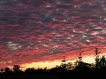Ciel nuageux au coucher du soleil Images libres de droits