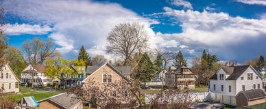 Ciel nuageux au-dessus de la ville de Westfield Photographie stock libre de droits