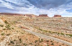 Ciel orageux au-dessus de parc national de Canyonlands Photographie stock