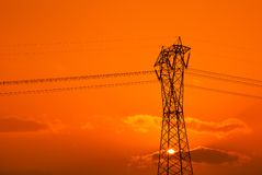 Ciel orange en soirée Image libre de droits