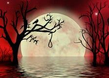 Ciel rouge avec le paysage lunaire d'imagination de corde Image libre de droits