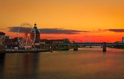 Ciel sur le feu à la ville de Toulouse, Toulouse, France Photo libre de droits