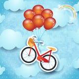 Ciel surréaliste avec le vélo et les ballons Images libres de droits