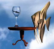 Ciel surréaliste de poissons Photo stock