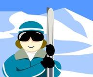 Cieli della tenuta dello sciatore illustrazione vettoriale