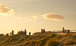 Cieli dorati di tramonto Fotografia Stock