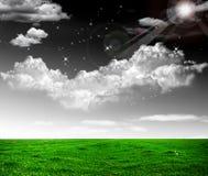 Cieli drastici contro un campo verde bella cont. Fotografia Stock Libera da Diritti