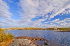 Cieli luminosi di caduta nel legno del nord Fotografia Stock Libera da Diritti
