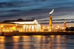 Cielo amenazador de la puesta del sol sobre la isla de Vasilyevsky del escupitajo Sai Imágenes de archivo libres de regalías
