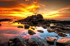 Cielo anaranjado de la puesta del sol Foto de archivo
