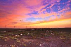 Cielo arancio ardente di tramonto Immagine Stock