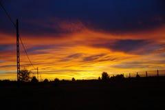 Cielo arancione di tramonto Fotografie Stock