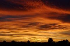 Cielo arancione di tramonto Immagini Stock Libere da Diritti