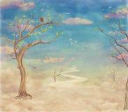 Cielo astratto d'annata della natura con il ponte, gli alberi ed il fondo delle nuvole Immagini Stock