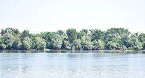 Cielo azul, árboles verdes, río azul Imagenes de archivo