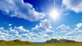Cielo azul con el cloudscape almacen de metraje de vídeo