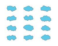 Cielo azul con el ejemplo del icono de la nube ilustración del vector