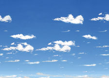 Cielo azul con la teja horizontal de las nubes imagen de archivo
