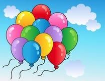 Cielo azul con los globos 2 de la historieta Foto de archivo