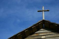 Cielo azul cruzado de madera Imagen de archivo