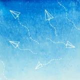 Cielo azul de la acuarela Fotos de archivo